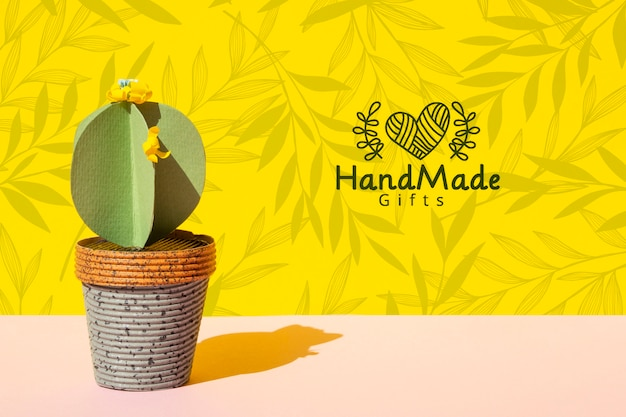 Handmade paper cactus with pot background