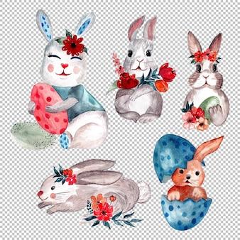 수채화로 손으로 그리는 귀여운 토끼 그림