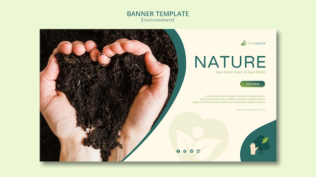 Hands creating a heart shape out of soil banner template