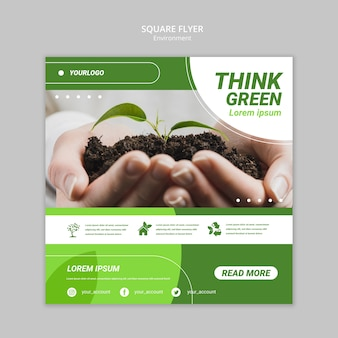 Hands holding dirt with plant square flyer template