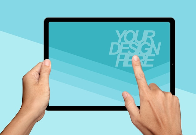 Hands holding and point on tablet mockup