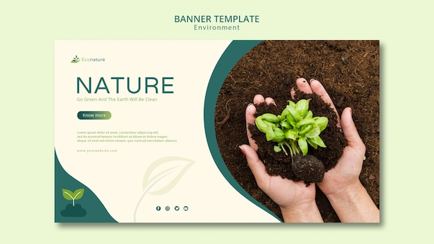 Hands holding seedlings banner template
