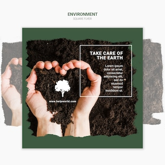 Hands making a heart with dirt square poster template