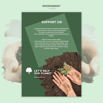 Hands plant a seedling in the dirt poster template