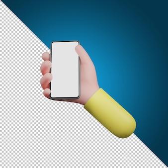 Руки с помощью смартфона. мультфильм устройство макет, 3d иллюстрации.