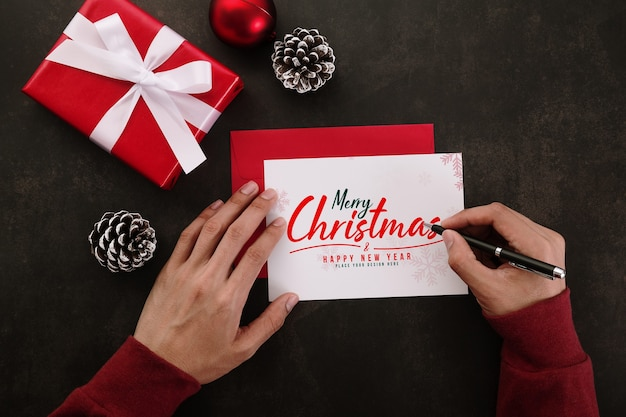 Руки писать макет поздравительной открытки с рождеством