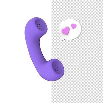 愛のメッセージ3dレンダリングモデルと携帯電話