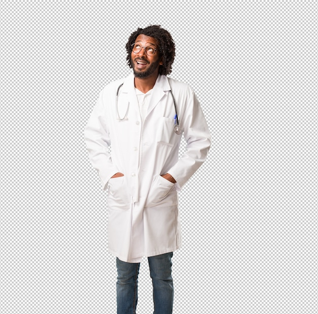 Handsome african american medical doctor looking up