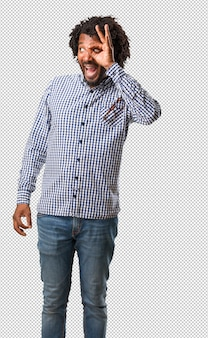Handsome business african american man cheerful and confident doing ok gesture