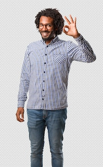 Handsome business african american man cheerful