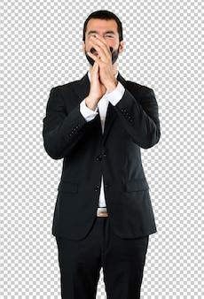 Handsome businessman applauding
