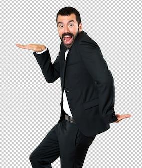 Handsome businessman dancing