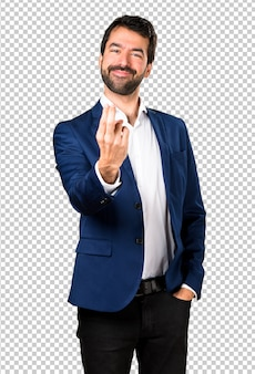 Handsome man coming gesture