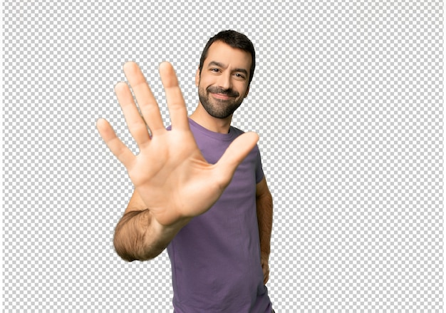 Handsome man counting five with fingers