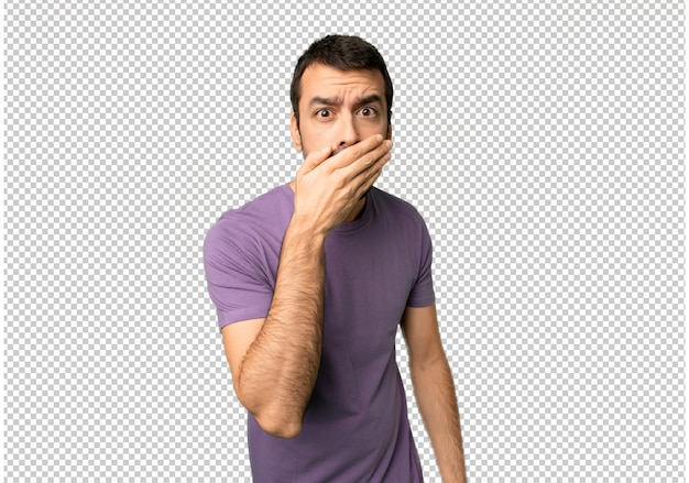 Handsome man covering mouth with hands for saying something inappropriate