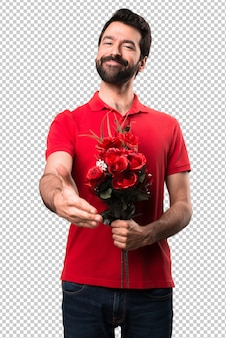 Handsome man holding flowers making a deal