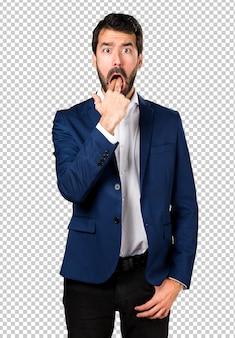 Handsome man making vomiting gesture