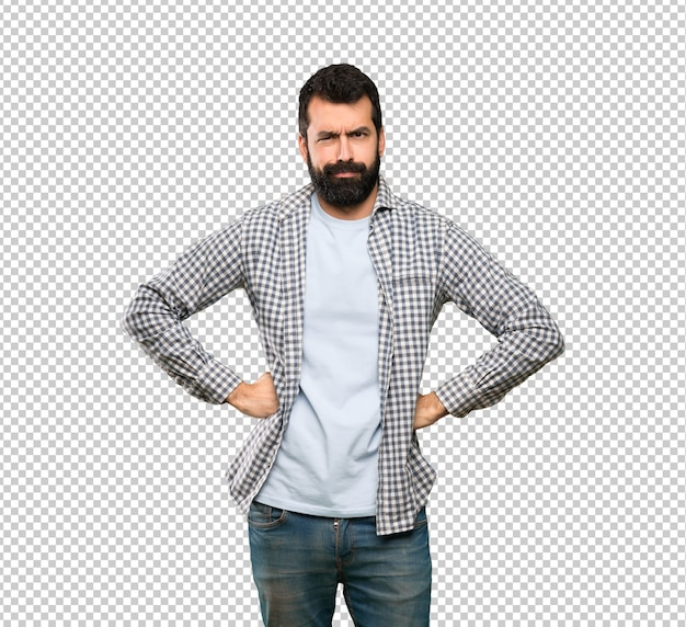 Handsome man with beard angry