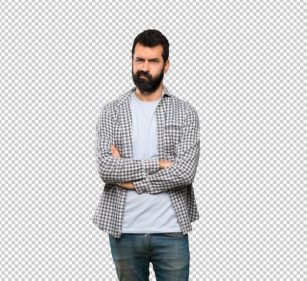Handsome man with beard feeling upset
