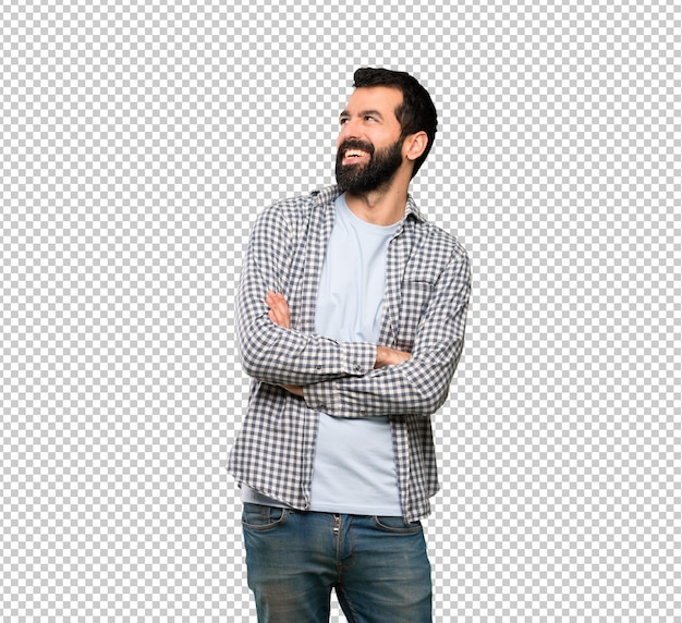 Handsome man with beard happy and smiling