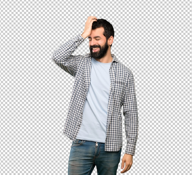 Handsome man with beard has realized something and intending the solution