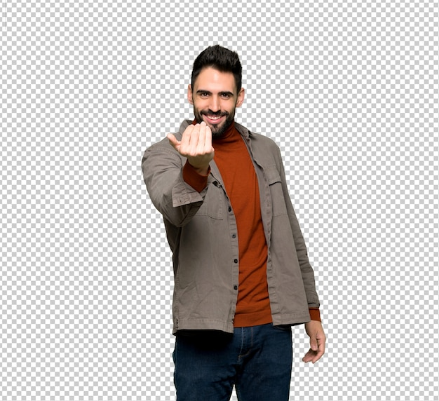 Handsome man with beard inviting to come with hand. happy that you came