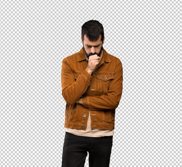 Handsome man with beard is suffering with cough and feeling bad