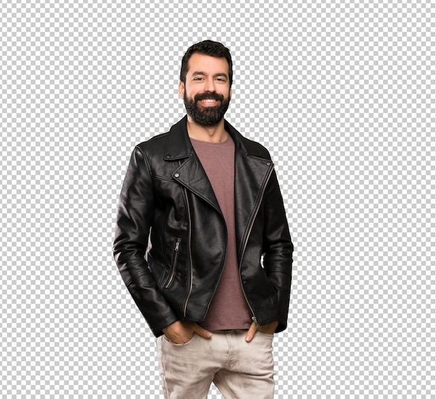 Handsome man with beard laughing