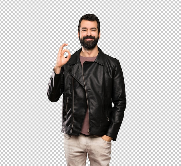 Handsome man with beard showing ok sign with fingers