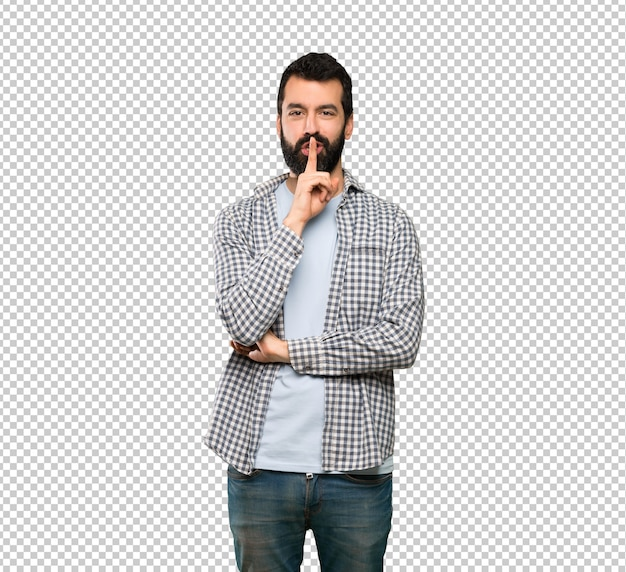 Handsome man with beard showing a sign of silence gesture putting finger in mouth
