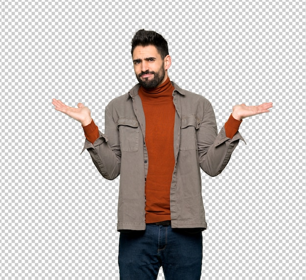 Handsome man with beard unhappy and frustrated with something because not understand something