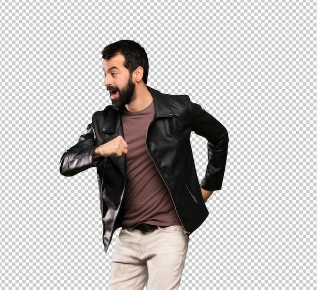 Handsome man with beard walking