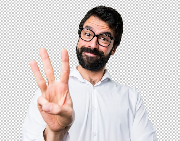 Handsome man with glasses counting three