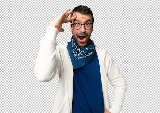 Handsome man with glasses has just realized something and has intending the solution