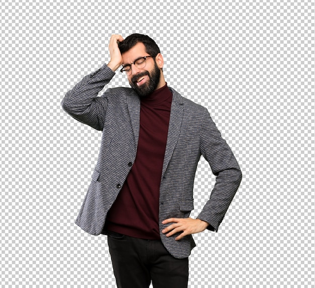 Handsome man with glasses has realized something and intending the solution