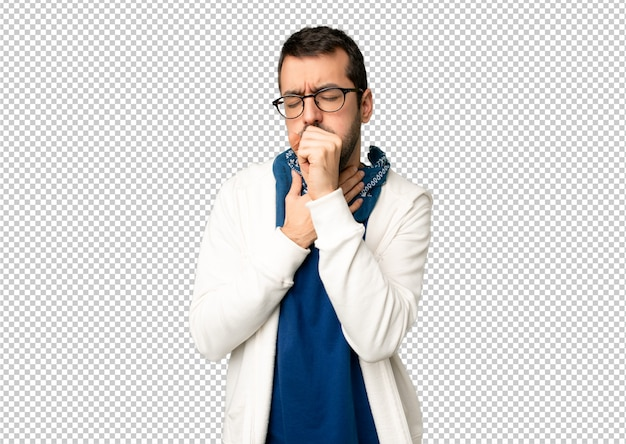 Handsome man with glasses is suffering with cough and feeling bad