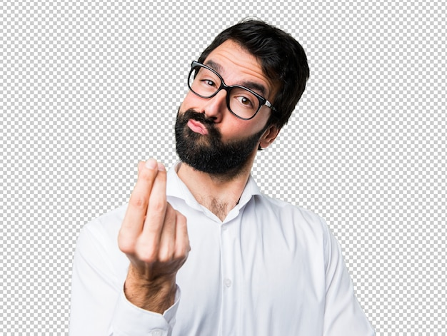 Handsome man with glasses making money gesture