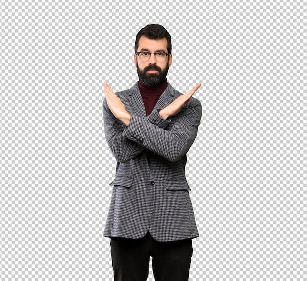 Handsome man with glasses making no gesture