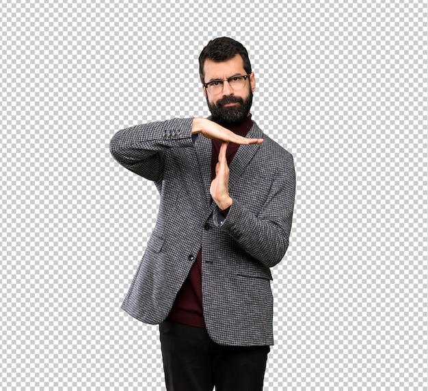 Handsome man with glasses making time out gesture