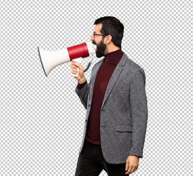 Handsome man with glasses shouting through a megaphone