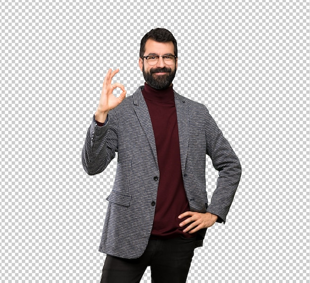Handsome man with glasses showing ok sign with fingers