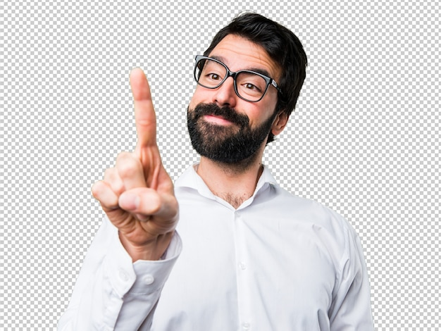 Handsome man with glasses touching on transparent screen
