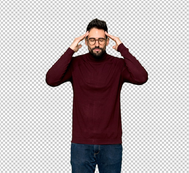 Handsome man with glasses unhappy and frustrated with something