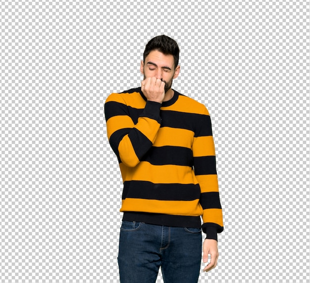 Handsome man with striped sweater having doubts