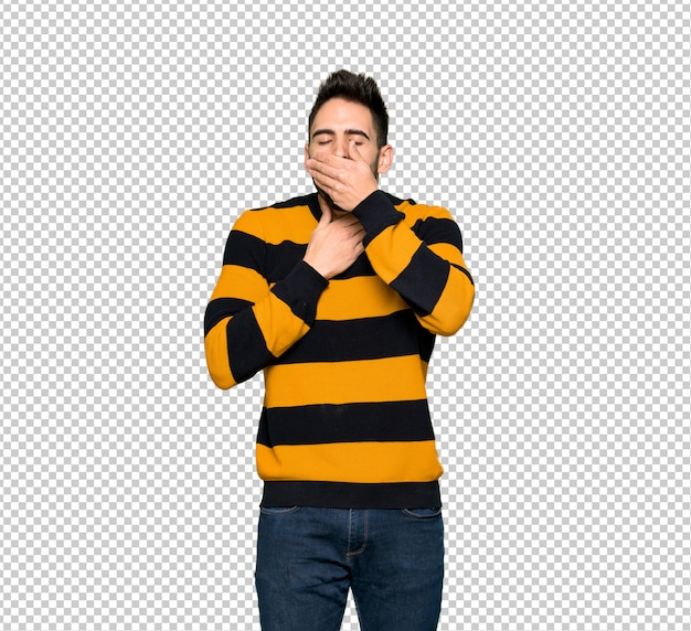 Handsome man with striped sweater is suffering with cough and feeling bad