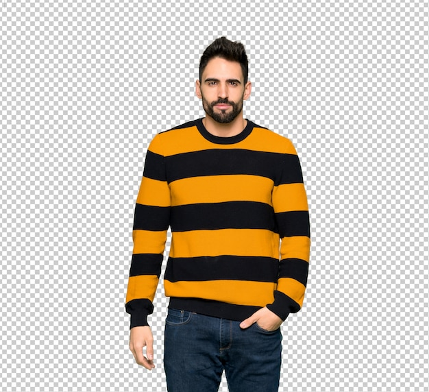 Handsome man with striped sweater portrait