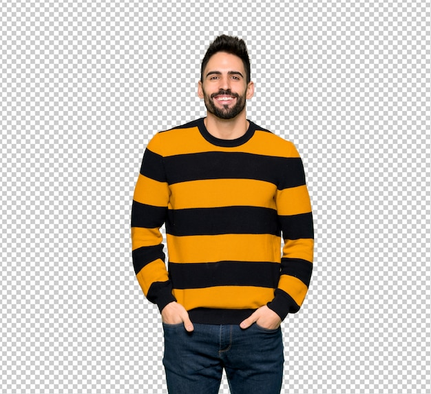 c95edc9f58a Handsome man with striped sweater posing and laughing looking to the front