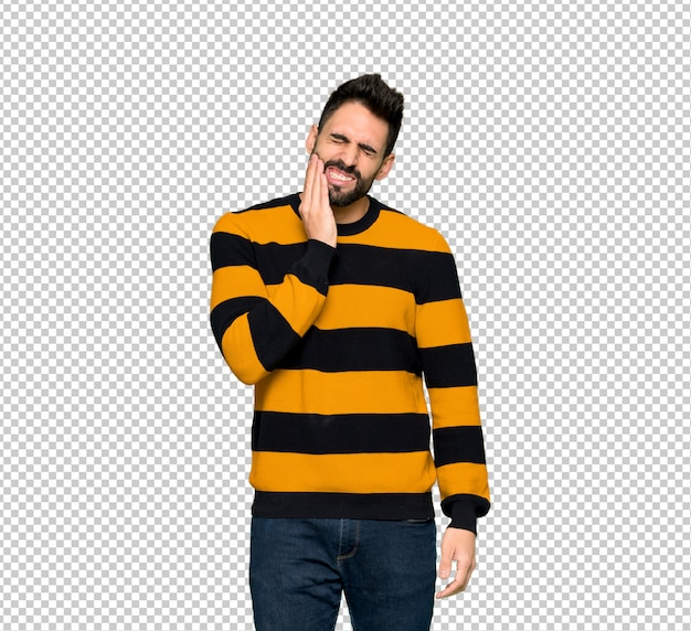 Handsome man with striped sweater with toothache
