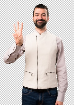 Handsome man with vest counting three