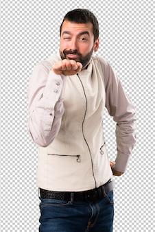 Handsome man with vest dancing